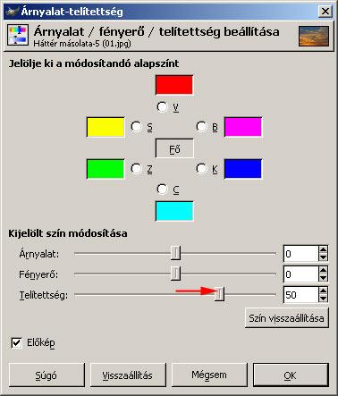 Színtelítettség GIMP képszerkesztőben 3.