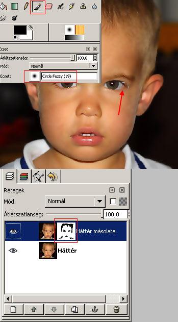 Arcbőr simítása GIMP képszerkesztőben 5.