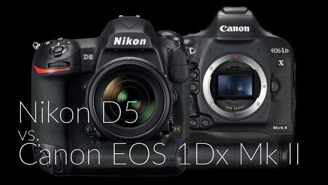 Nikon D5 vs. Canon EOS 1DX Mark II fényképezőgép összehasonlítás